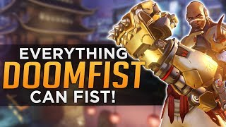 In this video we break down the unique interactions Doomfist's kit has with the other heroes in Overwatch. There's quite a lot to get through but it is really interesting how some of them go against what you might expect to happen. You'll have a much better idea of what you can and can't do with Doomfist after watching. If there's any interactions that I've missed, let us know in the comments below.Subscribe here - http://bit.ly/2aN1OuOWe are YOUR OVERWATCH:Destiny Channel: https://www.youtube.com/channel/UCb4Jomiox07xosU843EYTiwPatreon - https://www.patreon.com/YourOverwatchTwitter - https://twitter.com/youroverwatchytTwitch - https://www.twitch.tv/youroverwatch Discord Server:https://discordapp.com/invite/youroverwatchFREEDO's personal channel for Overwatch esports talk and more!https://www.youtube.com/user/xfreeedo
