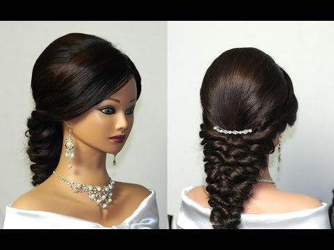 Wedding prom mermaid hairstyle for long hair.