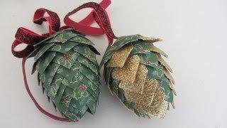 Paper Pinecone Christmas Ornament Styrofoam Egg Shape Beautiful - YouTube
