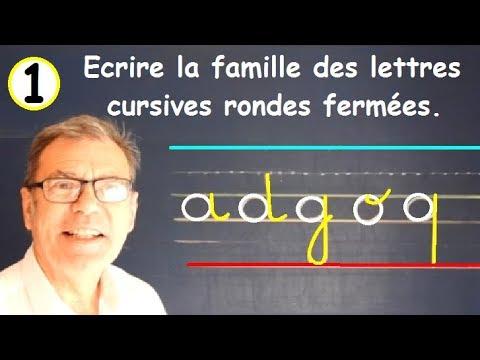 Ecriture famille de lettres cursives rondes : exercice gs cp ce1 ce2