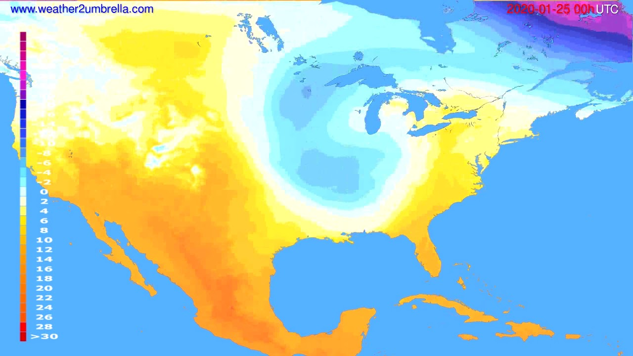 Temperature forecast USA & Canada // modelrun: 00h UTC 2020-01-24