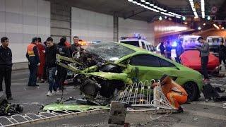 Une Ferrari et une Lamborghini se crashent à la sortie de Fast & Furious