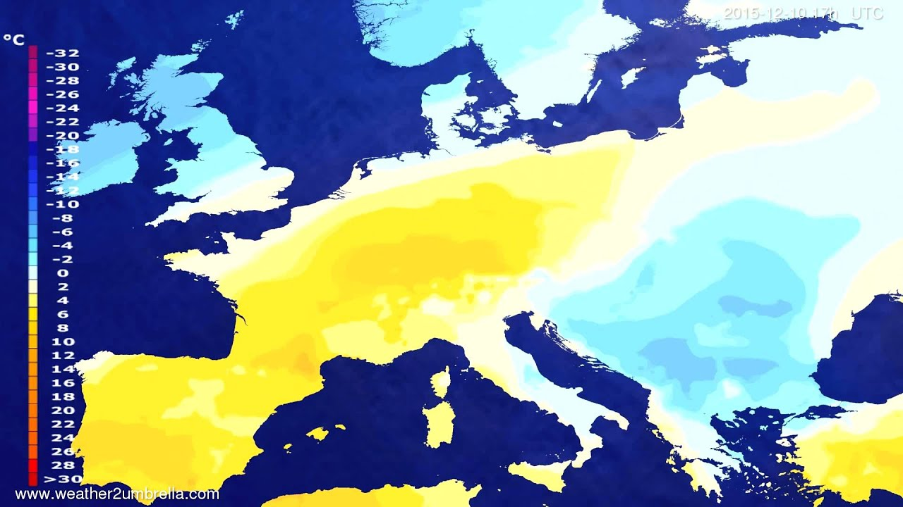 Temperature forecast Europe 2015-12-08