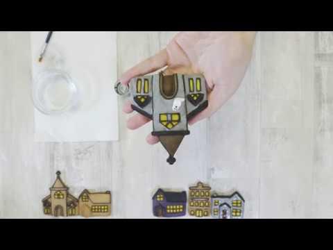 Haunted House Halloween Cookies - Karen Davies Sugarcraft - Winter Village Mould - Tutorial