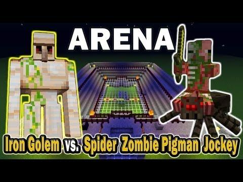 Minecraft Arena Battle Iron Golem vs. Spider Zombie Pigman Jockey