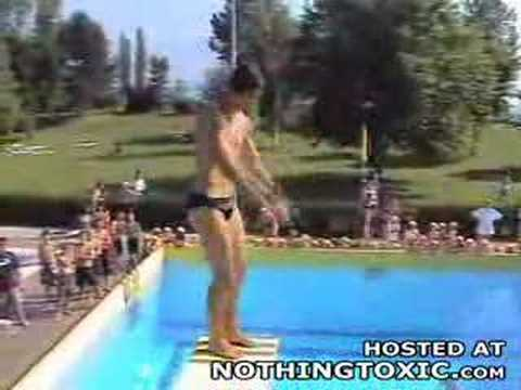 Dive blooper at the pool