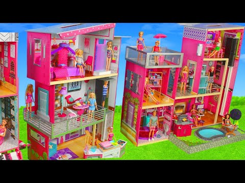 Barbie Dolls: Toy Dollhouse Dreamhouse w/ Kitchen, Bathroom & Bedroom Room Doll Play for Kids