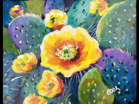 How to Paint a Cactus Flower in Acrylic Paints for Beginners with Ginger Cook