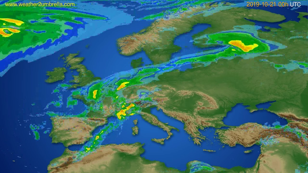 Radar forecast Europe // modelrun: 12h UTC 2019-10-20