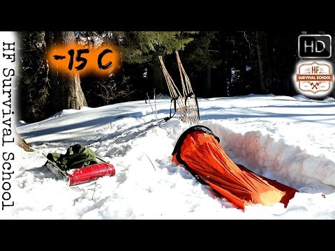 EXTREME COLD Winter Solo Overnight Bushcraft Camp - Cooking , Survival - HD Video