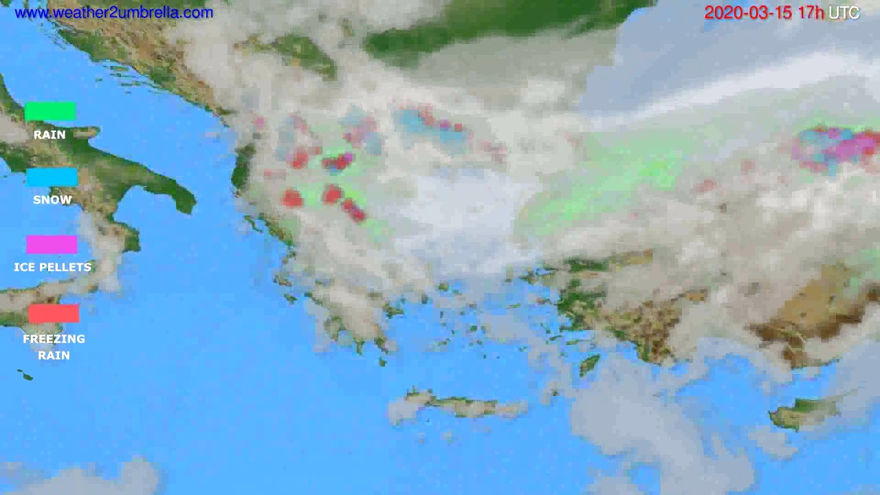 Precipitation forecast Greece // modelrun: 12h UTC 2020-03-14