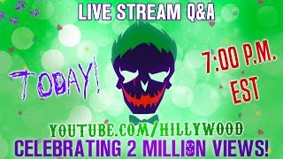 Creators of The Hillywood Show, Hilly and Hannah Hindi answer YOUR questions about the making of their latest production: Suicide Squad Parody and celebrate TWO MILLION VIEWS! - https://youtu.be/96Pv1NoUaCY_____________________Watch Suicide Squad Parody again ⭐️https://youtu.be/96Pv1NoUaCY_____________________JOIN THE HILLYWOOD SQUAD 💚Donate: http://www.Patreon.com/Hillywood_____________________FOLLOW THE HILLYWOOD SHOW ⭐️Subscribe: http://www.youtube.com/subscription_center?add_user=JckSparrowWebsite: http://www.TheHillywoodShow.comMerchandise: http://www.ShopHillywood.comTwitter: http://www.Twitter.com/HillywoodShowFacebook: http://www.Facebook.com/TheHillywoodShowTumblr: http://www.TheHillywoodShow.Tumblr.comInstagram: http://www.Instagram.com/TheHillywoodShowE-mail For Business/Press Inquiries: TheHillywoodShow@aol.com _____________________FOLLOW HILLY ⭐️Twitter: http://www.Twitter.com/HillyHindiFacebook: http://www.Facebook.com/HillyHindiOfficialInstagram: http://www.Instagram.com/HillyHindiTumblr: http://www.HillyHindi.Tumblr.comSnapchat: HillyHindi_____________________ FOLLOW HANNAH ⭐️Twitter: http://www.Twitter.com/HannahHindiFacebook: https://www.facebook.com/Hannah-Hindi-102206209819456/?fref=tsInstagram: http://www.Instagram.com/HannahHindiOfficialTumblr: http://www.HannahHindi.Tumblr.com______________________