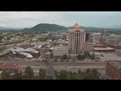 Aerial footage of Roanoke, Virginia