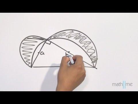 Schattierte Halbkreise durch ein Dreieck gebildet