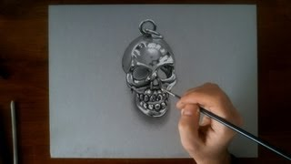 Crazy drawing illusion 3d - the metal skull HD video speed painting