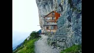 Swiss Hotel Built On The Mountain Cliffs of Swiss Alps
