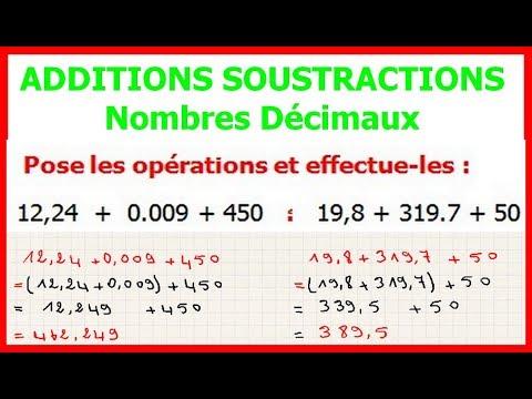 Maths 6eme Additions Et Soustractions De Nombres Decimaux Exercice 1
