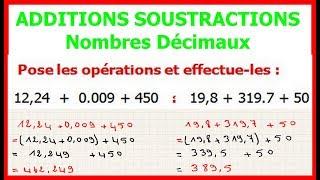 Maths 6ème - Additions et soustractions de nombres décimaux Exercice 1