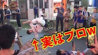 【ストリートサッカー】もしもW杯で賑わう渋谷で浮いてる野球少年がサッカーのプロだったら