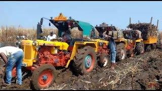 3 hindustan tractors 1 trolley in mud