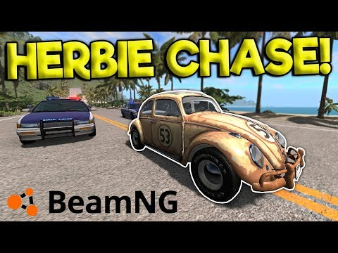 INSANE HERBIE POLICE CHASE & CRASHES! - BeamNG Gameplay & Crashes - Cop Escape
