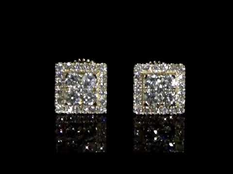 Lady's 14k Yellow Gold Cluster Diamond Square Shape Earrings