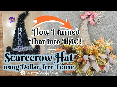 Scarecrow Hat Using Dollar Tree Frame |  Repurposed Decor | Fall Craft Idea