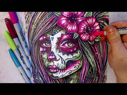 Sharpie Sugar Skull Girl [timelapse]