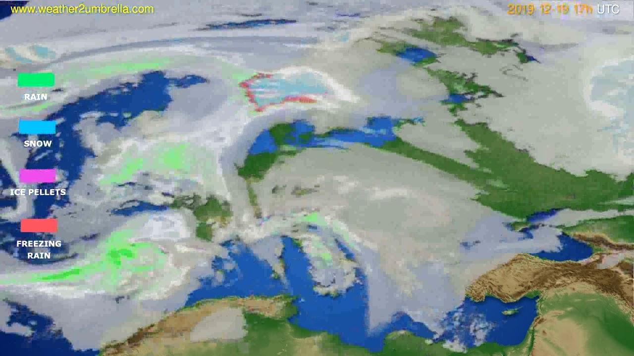 Precipitation forecast Europe // modelrun: 12h UTC 2019-12-18