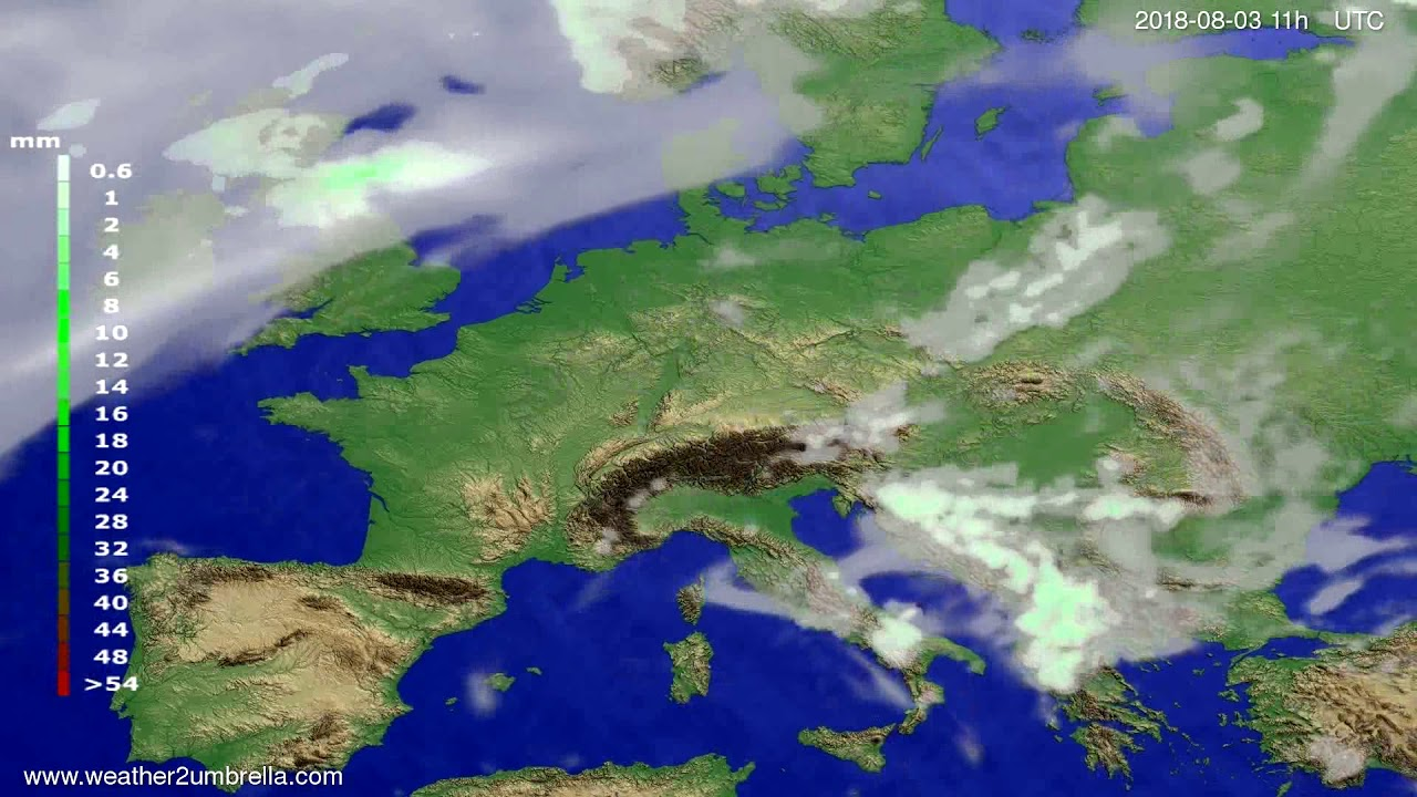 Precipitation forecast Europe 2018-07-31