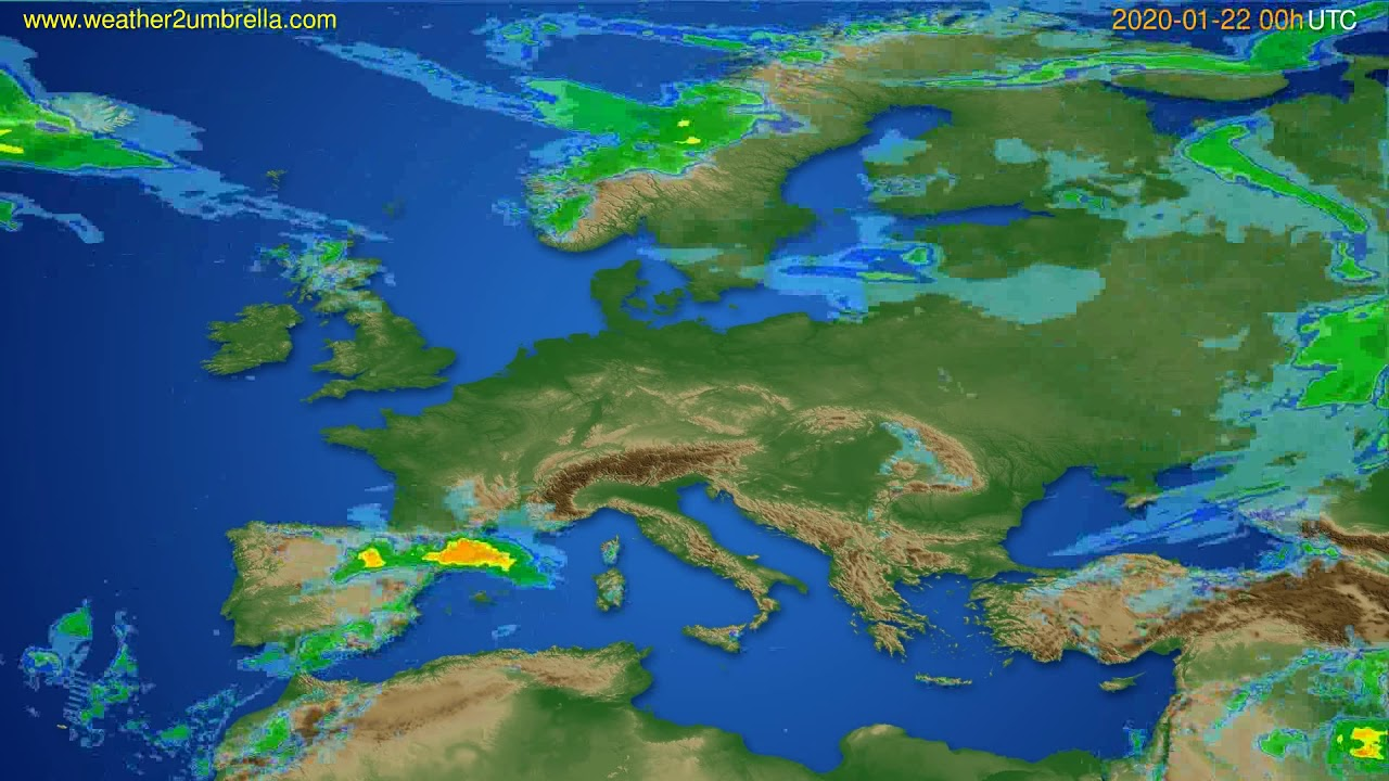 Radar forecast Europe // modelrun: 12h UTC 2020-01-21