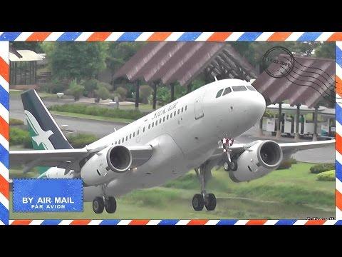 SILK TO SIN – SilkAir Airbus A319 takeoff at Koh Samui Airport – 9V-SBD, 9V-SBE