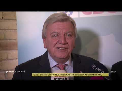 Volker Bouffier und Tarek Al-Wazir zum neuen Koalitionsvertrag in Hessen am 19.12.18