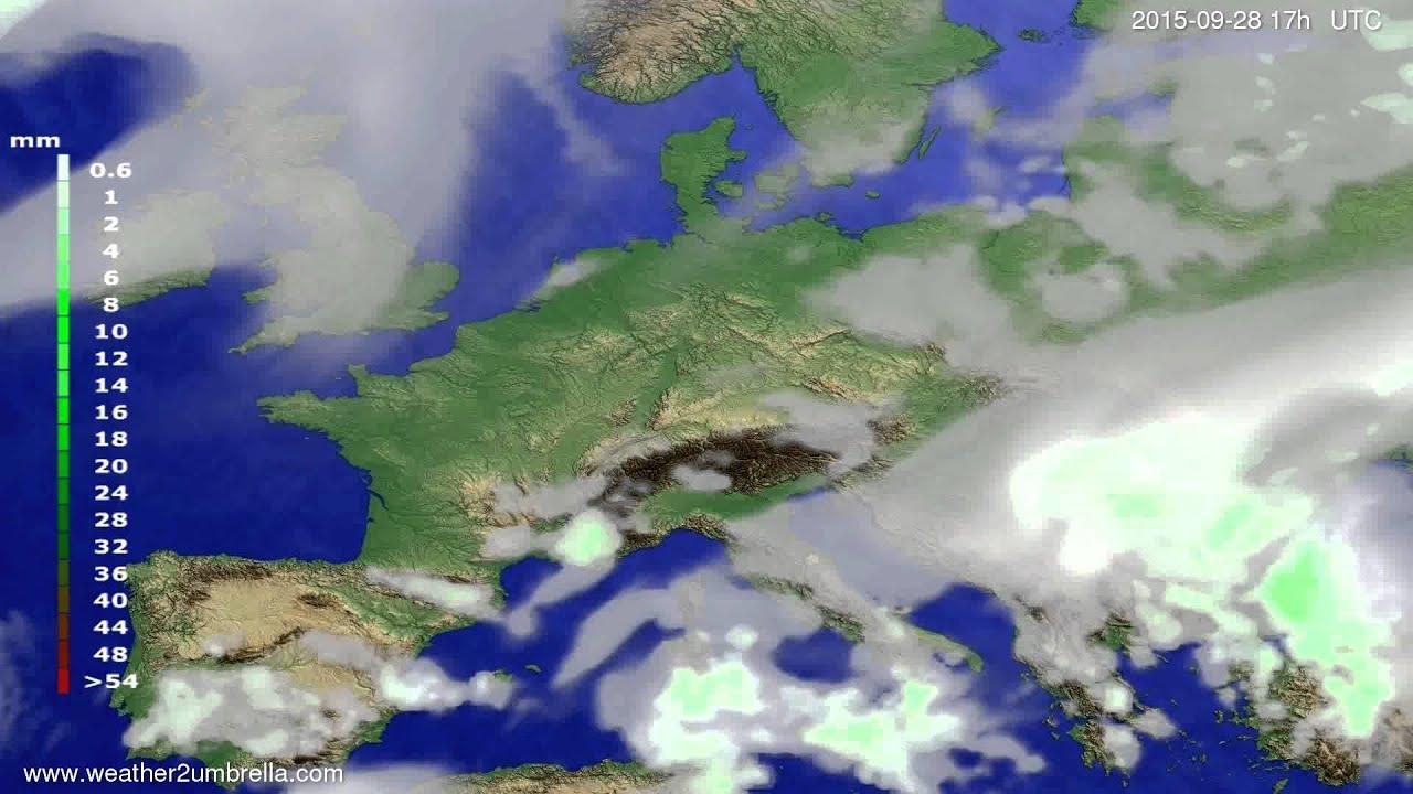 Precipitation forecast Europe 2015-09-26