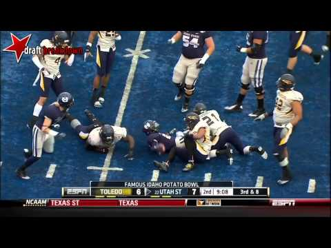 Chuckie Keeton (QB Utah State) vs Toledo 2012 Bowl video.