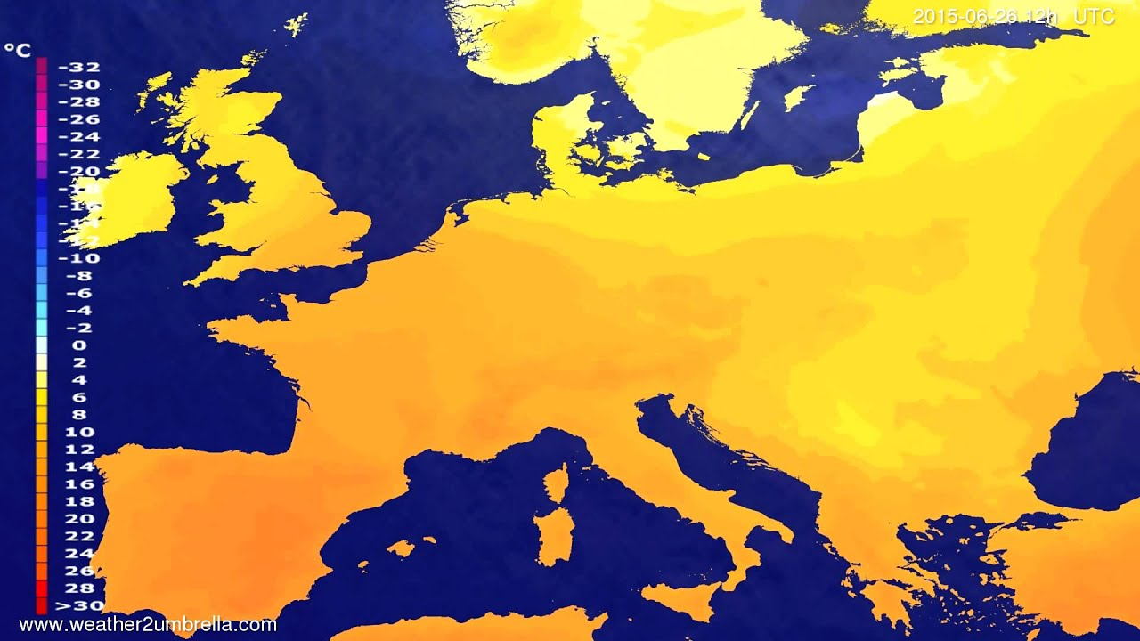 Temperature forecast Europe 2015-06-24