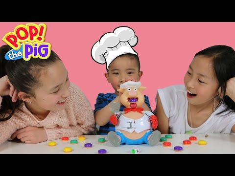 Fun Family Board Game Challenge POP THE PIG  Feed The Pig Watch Him Pop Ckn Toys