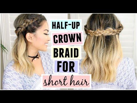 Crown braid half up