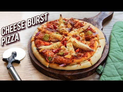 Domino's Cheese Burst Pizza Recipe – How To Make Cheese Burst Pizza – Veg Cheese Pizza – Bhumika