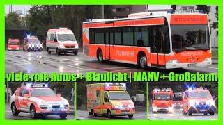 Viele rote Autos mit Blaulicht & Martinshorn (MANV)