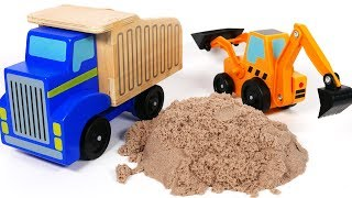 Video Dump Truck Trailer and Backhoe Toy Vehicles Playset for Children Playing in Kinetic Sand download in MP3, 3GP, MP4, WEBM, AVI, FLV January 2017
