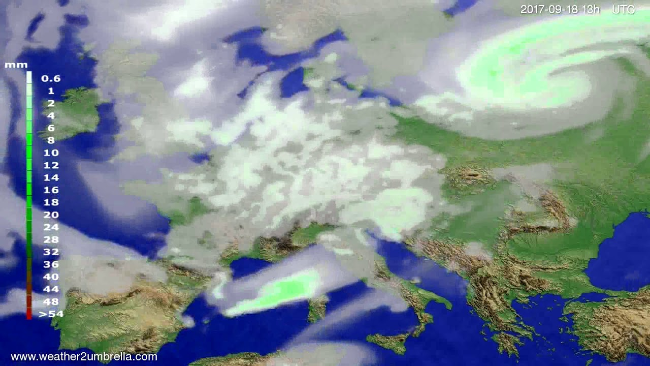 Precipitation forecast Europe 2017-09-15