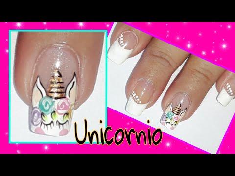 Decorados de uñas - Diseño de uñas para principiante unicornio/uñas decoradas paso a paso