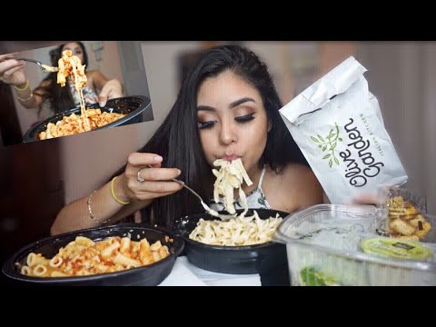 OLIVE GARDEN FETTUCCINE ALFREDO + FIVE CHEESE ZITI AL FORNO PASTA MUKBANG! EATING SHOW /WATCH ME EAT