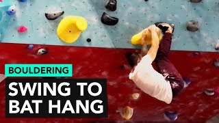 Overhang Swing to a BAT HANG bouldering problem by  rockentry