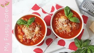A delicious, warm and comforting Italian Meatball & Gnocchi Soup recipe. A super easy family meal made in the crockpot.