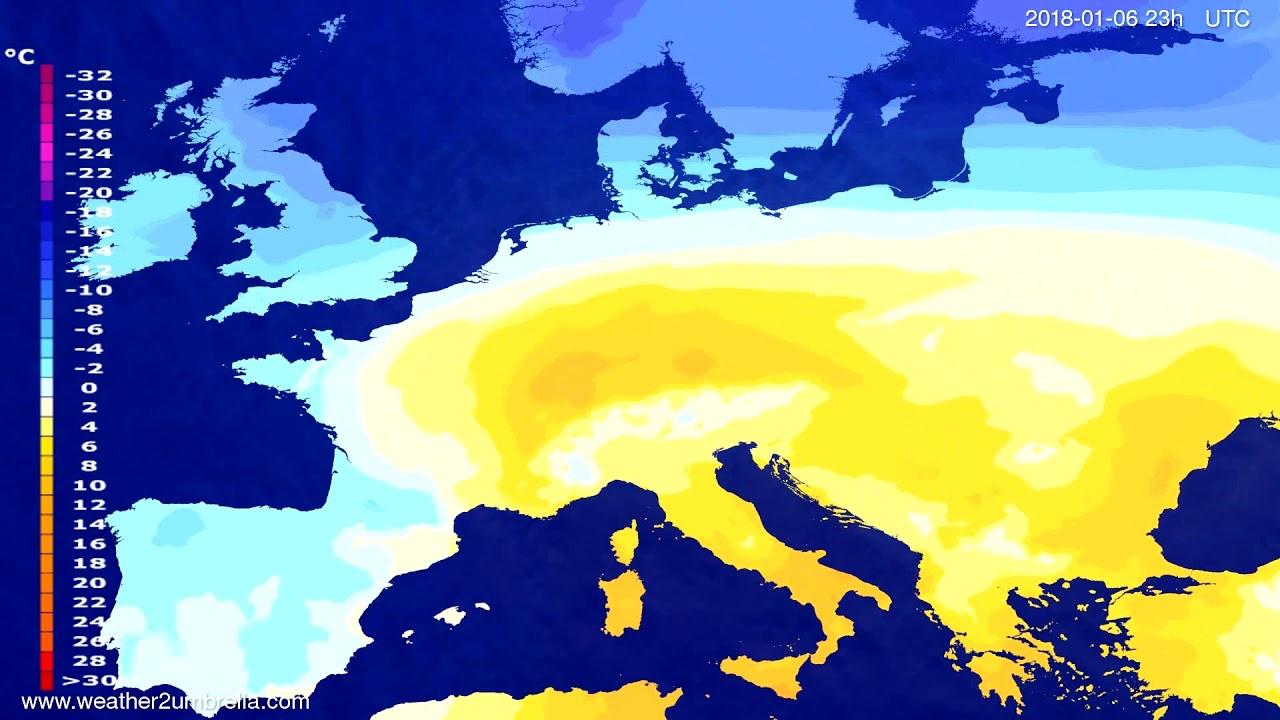 Temperature forecast Europe 2018-01-03