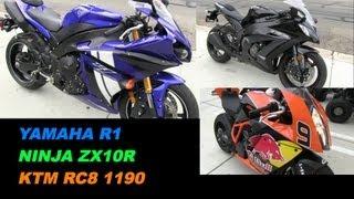 2. Yamaha R1, Kawasaki NINJA ZX10R & KTM RC8 1190  Review and Walk Around