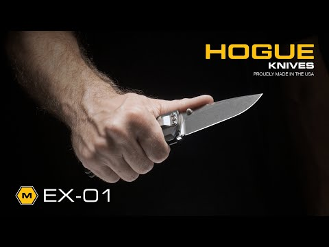 "Hogue Knives EX01 Knife Black Aluminum Handle Drop Point Blade (4"" Tumble Plain)"