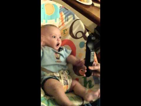 Baby Boy goes crazy over a remote control